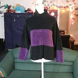 Purple & black chenille turtleneck womens sweater